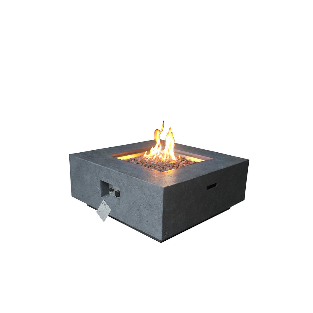 Elements Concrete Fire Pit (Square) - Natural Gas - Dark Gray