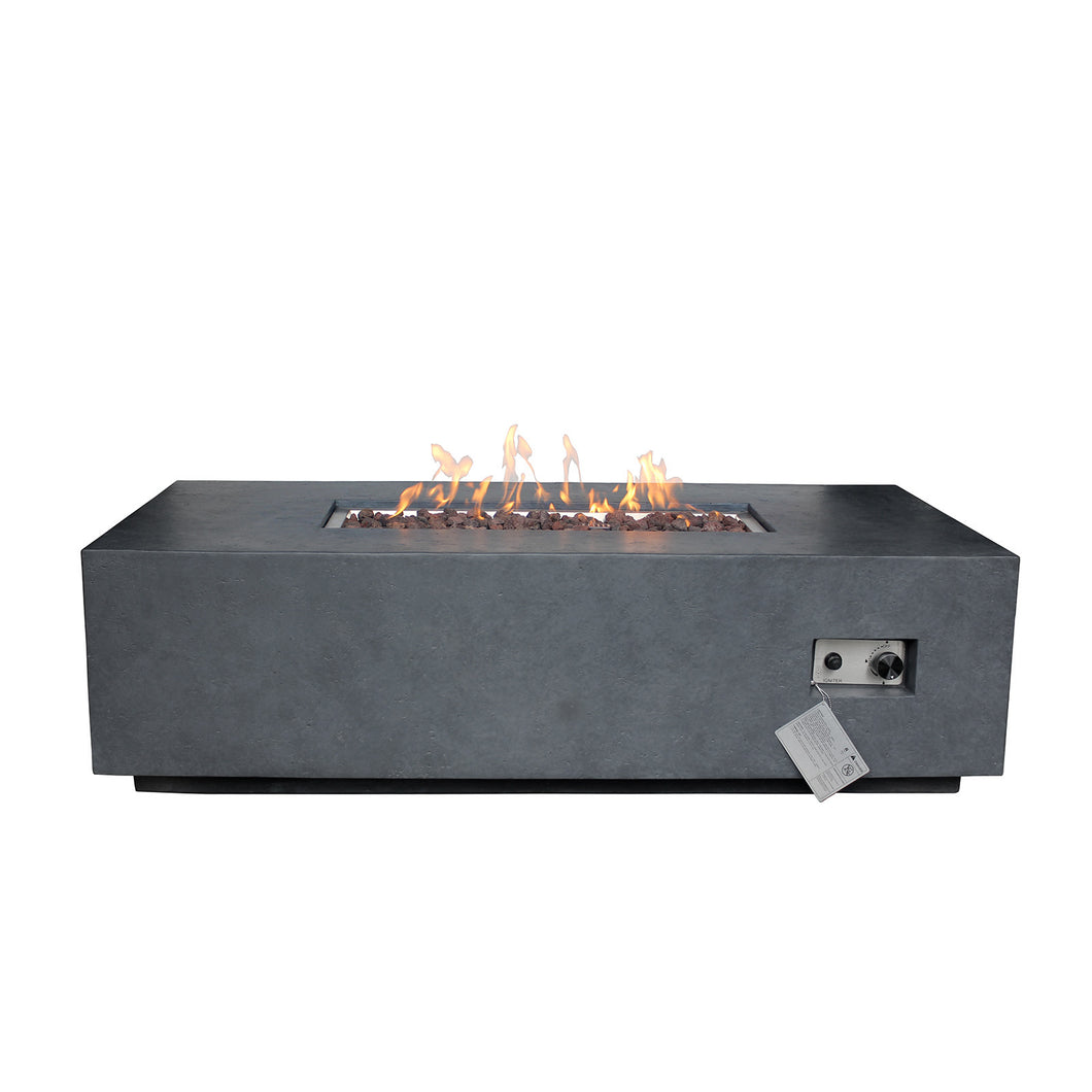 Elements Concrete Fire Pit (Rectangular) - Natural Gas - Dark Gray
