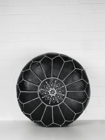 Moroccan Pouf - Black & White