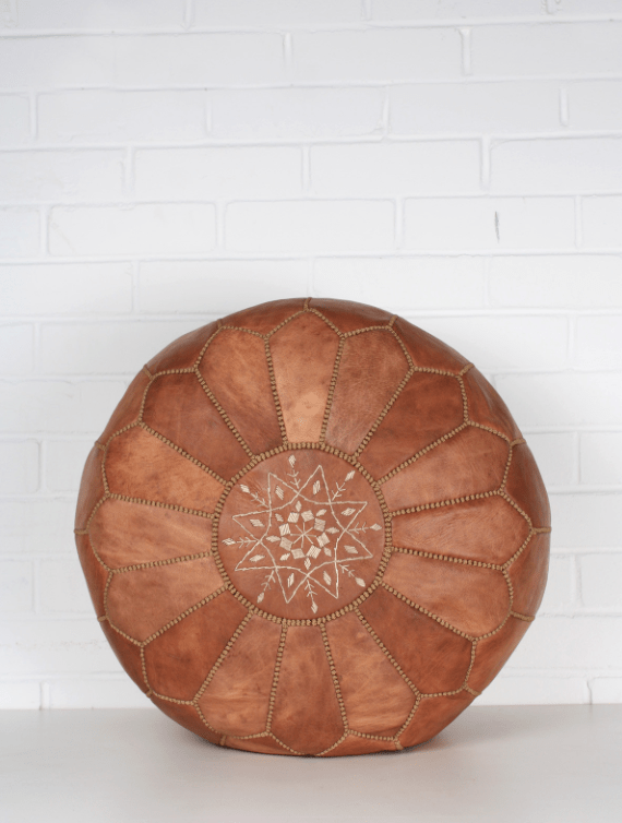 Moroccan Pouf - Natural Tan Mix