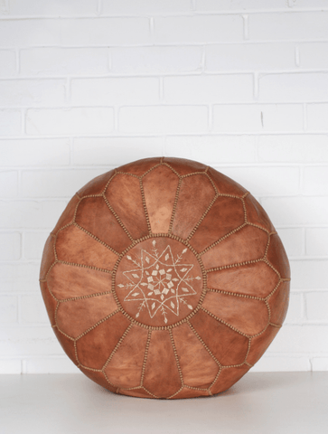 Moroccan Pouf - Natural Tan