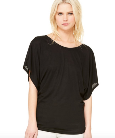 Flow Draped Sleeve Tee- Black