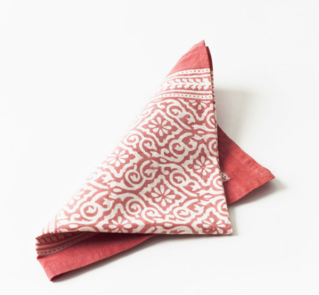Blockprint Napkins- Coral-  Set of 4