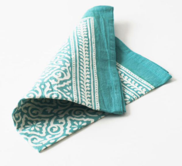 Blockprint Napkins- Aqua -  Set of 4