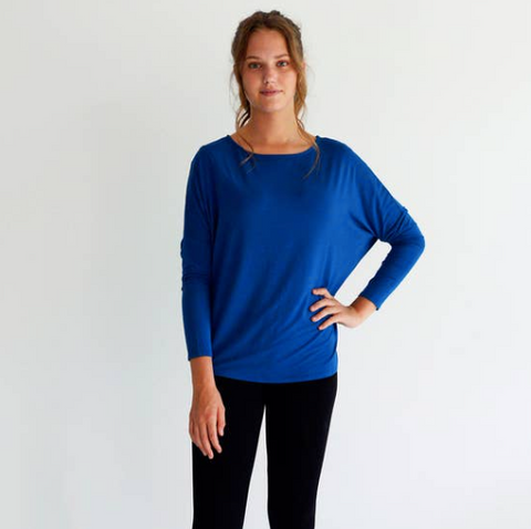 Bamboo & Organic Cotton Blue Slouch Top