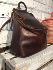 Erfoud Leather Backpack in Chocolate Brown