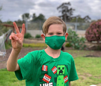 Kids (age 9-12) Green Face Mask