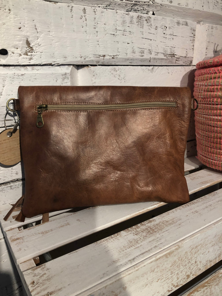 Marra Fold Over Clutch in Cognac