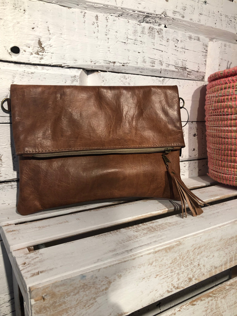 Marra Fold Over Clutch in Tan