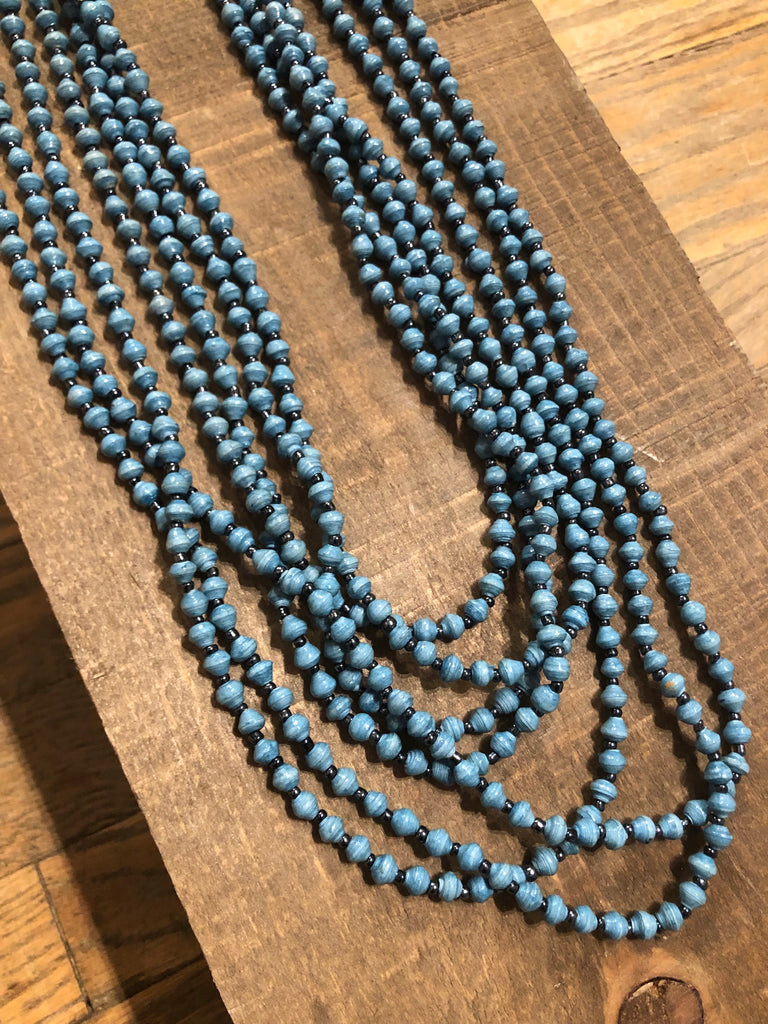 Blue Bead Lover Necklace