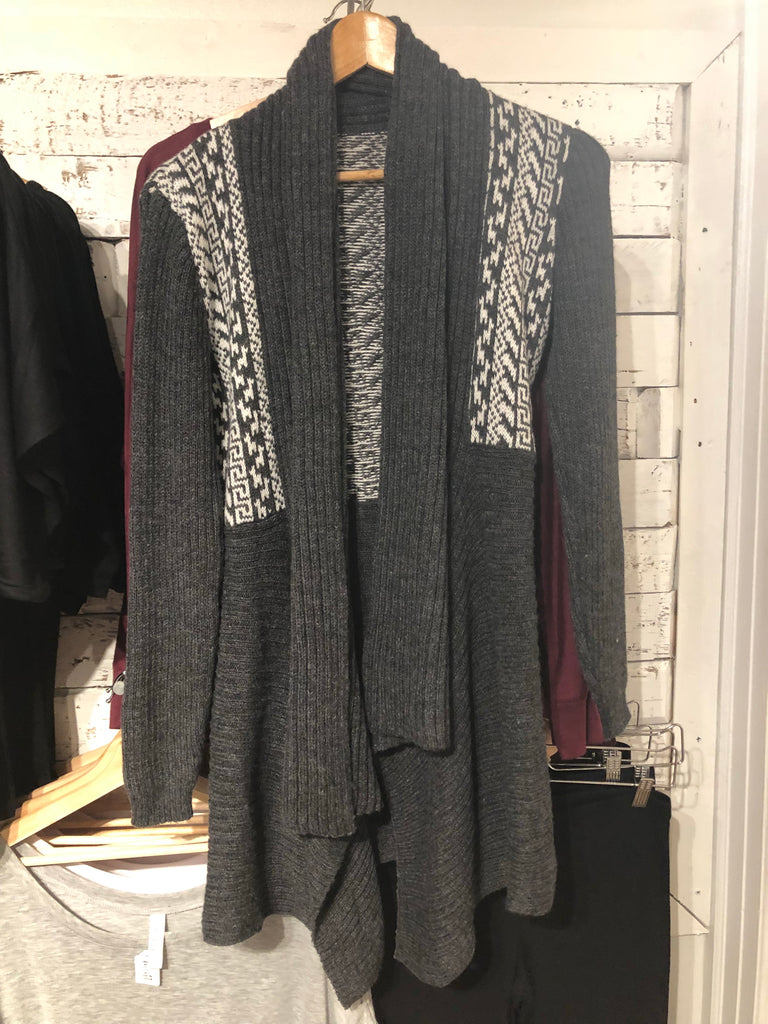 Blight Alpaca Sweater in Dark Grey & White
