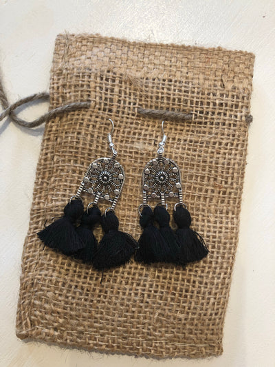 Bold Black Tassel Earrings