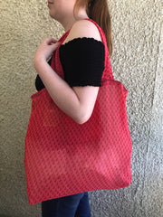 Red Subtle Sari Market Bag
