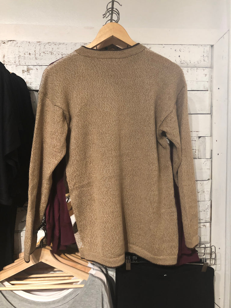 Button Up Alpaca Sweater in Beige