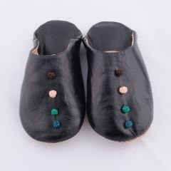 Black Babouche Slippers (Kids)