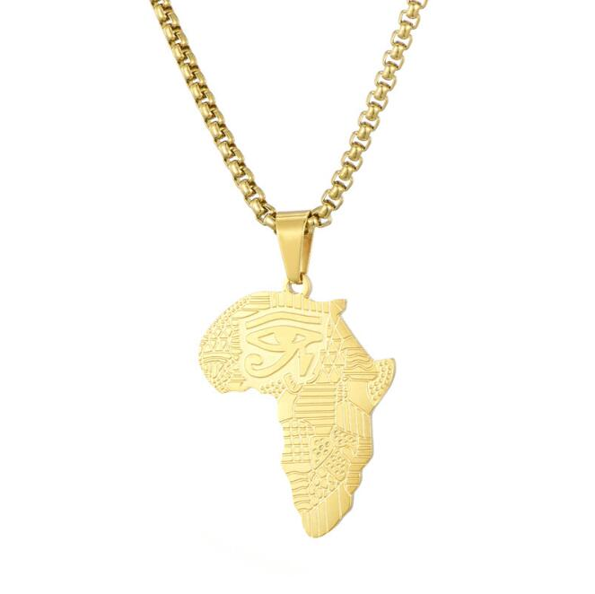 African Map Pattern Necklace