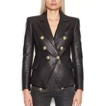 Load image into Gallery viewer, Lion Metal Button Leather Blazer