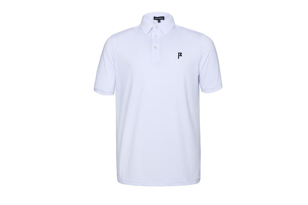 Men's White Flagstick Icon Polo