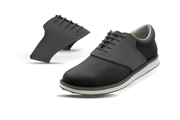 Men's Charcoal Saddles On Black Golf Shoe From Jack Grace USA