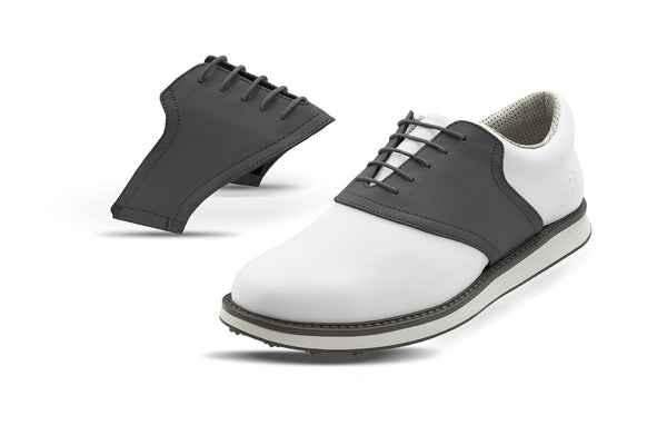 Men's Charcoal Saddles On White Golf Shoe From Jack Grace USA