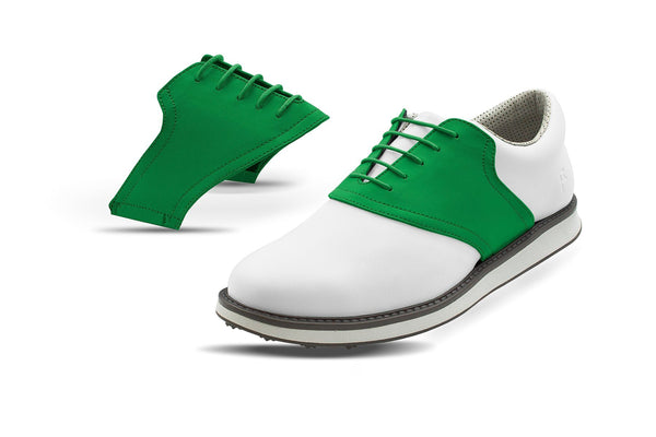 Men's Green Saddles On White Golf Shoe From Jack Grace USA