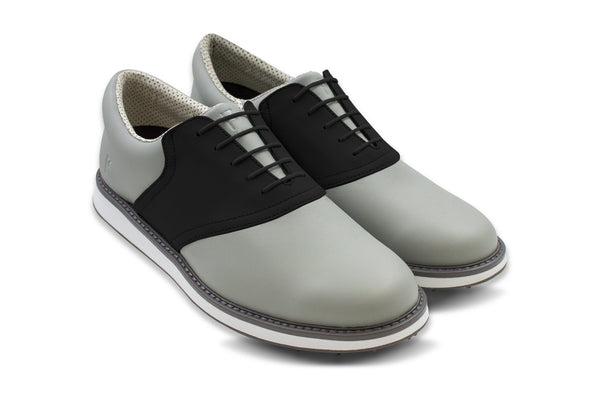 Men's Shoe Black 45 Degree Angle On Grey Golf Shoe From Jack Grace USA