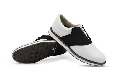 Men's Shoe Black Crisscross Angle On White Golf Shoe From Jack Grace USA