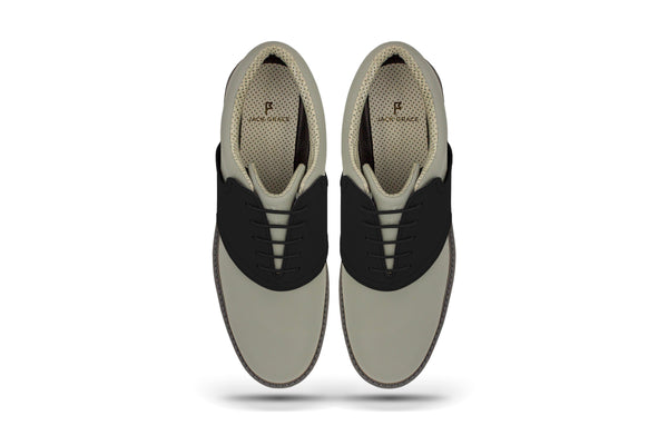 Men's Shoe Black Top Angle On Grey Golf Shoe From Jack Grace USA