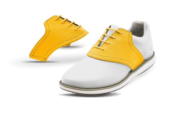 Women's Gold Pebble Saddles On White Golf Shoe From Jack Grace USA