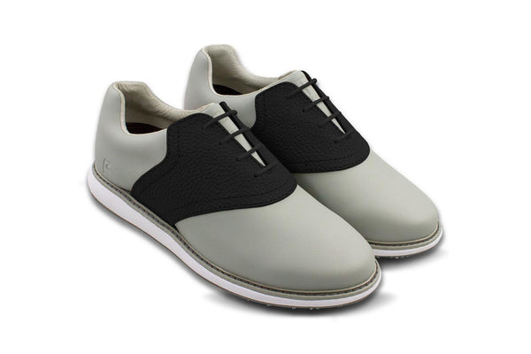 Women's Shoe Black 45 Degree Angle On Grey Golf Shoe From Jack Grace USA