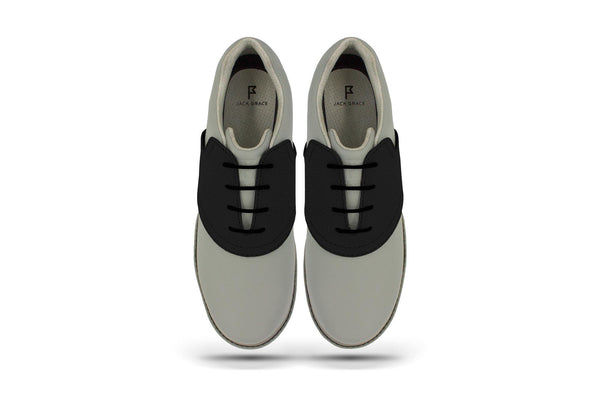 Women's Shoe Black Top Angle On Grey Golf Shoe From Jack Grace USA