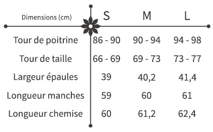 guide des tailles chemise broderie fleurie