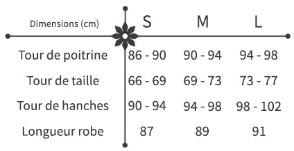 guide des tailles robe fleurie courte patineuse