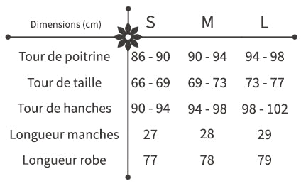 guide des tailles robe sexy courte fleurie