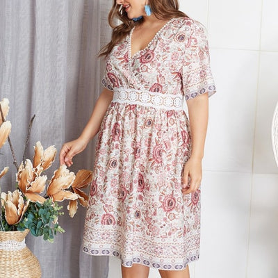 Robe Fleurie Blanche Grande Taille
