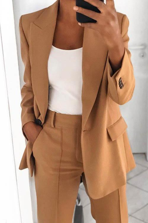 Melogal Easy Match Work Blazer and Pant Suit