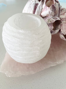 Selenite Tea Light Candle Holder