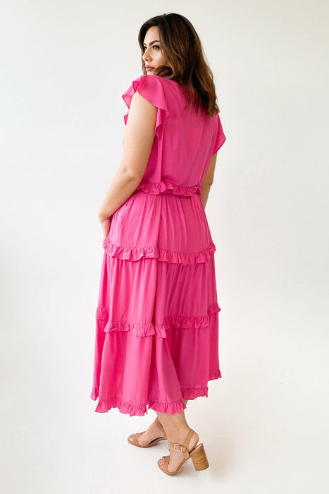 Boho Australia Downtown Tier Maxi Dress Fuschia