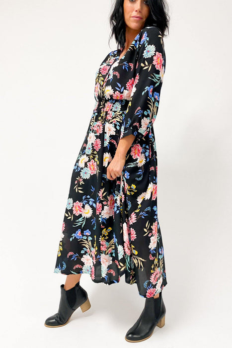 Boho Australia Fanning Maxi Dress Black - Shine On