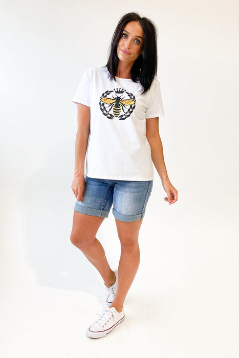 Moss Queen Bee Tee White
