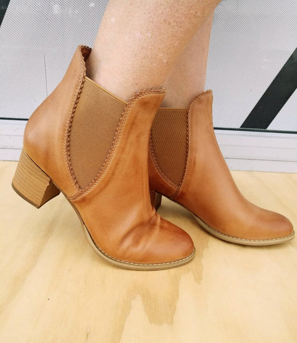 Django & Juliette Sadore Dark Tan Leather Boot