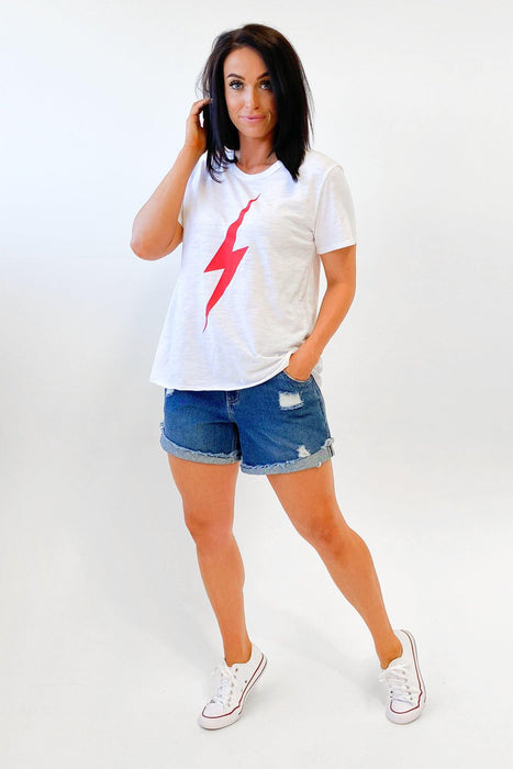 Sat + Sun Red Lightning Tee White