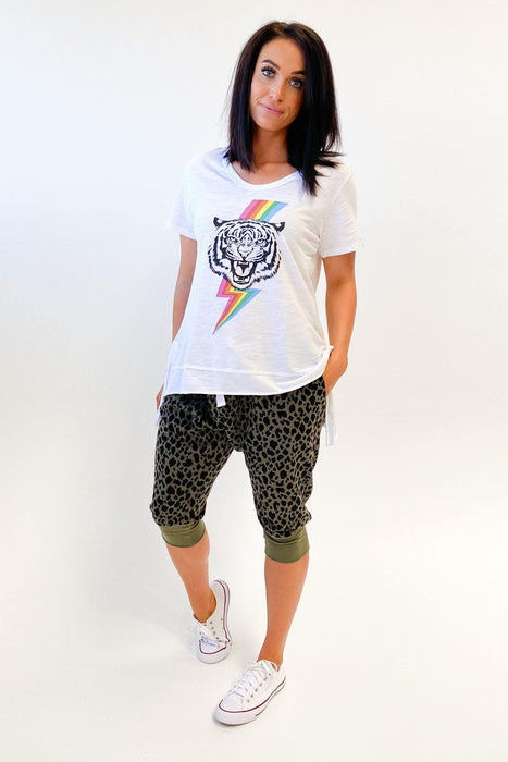 Sat + Sun Tiger Rainbow Tee White