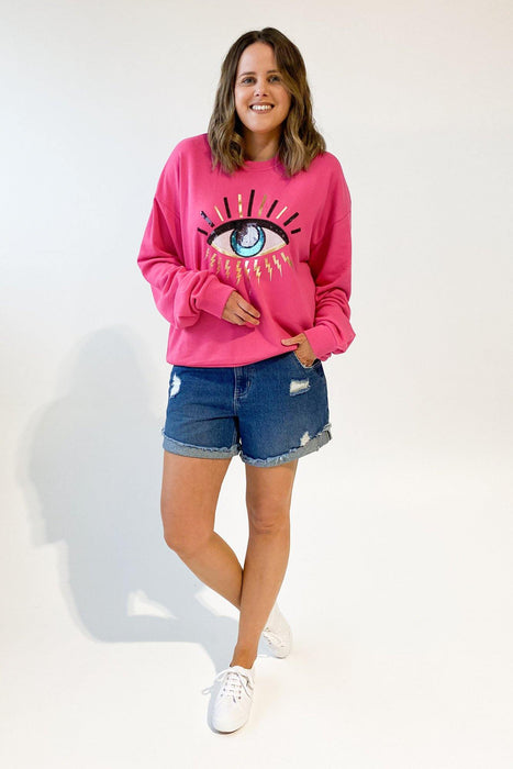 The Others The Vintage Sweat Fuchsia With Seeing Eye