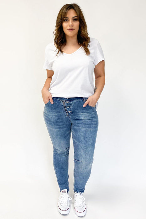 Threadz Buttoned Zip Jeans