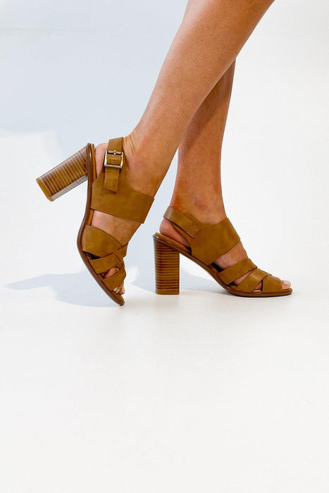 Walnut Melbourne Hollie Leather Block Heel Tan