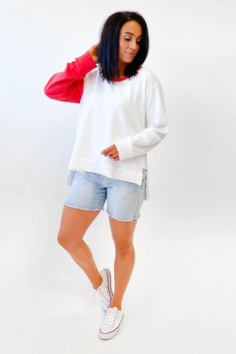 Sat + Sun Contrast Lightning Sweat White