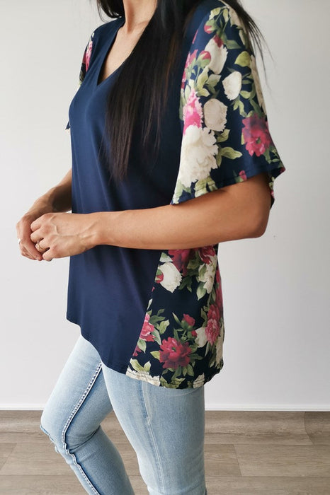 Gloss by Shine On Amelia Top Midnight Blue with Hydrangea Floral Inserts