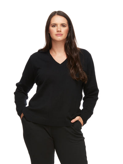bizwear anywear bec v neck rib pullover womens black