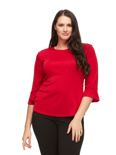 bizwear anywear bella bell sleeve top womens red